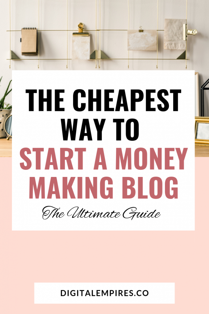cheapest way to start a blog: pinterest image